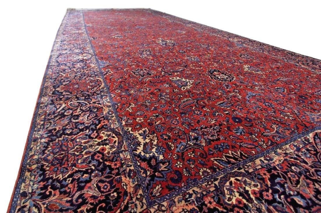 Kashan Rug Persian Hand Knotted 10x23 C1930
