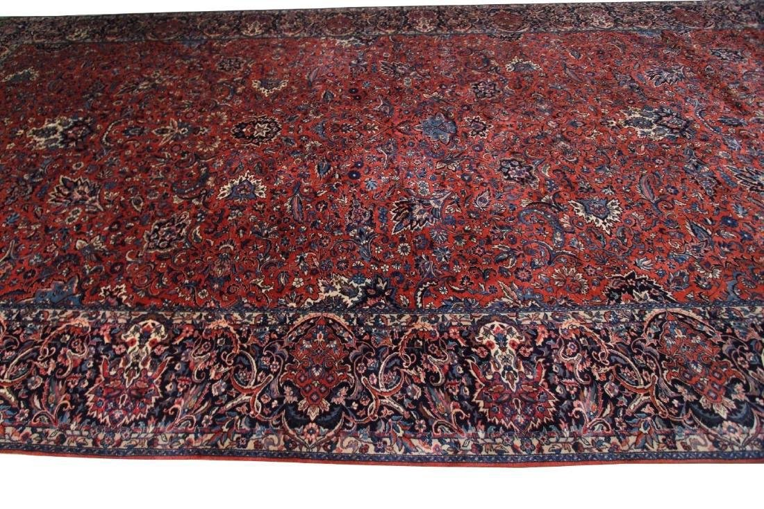 Kashan Rug Persian Hand Knotted 10x23 C1930 - 3