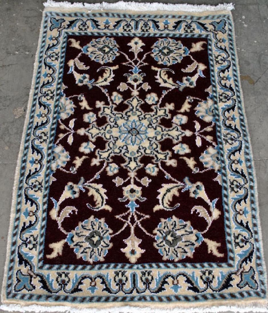 Part Silk Hand Woven Persian Nain Rug 2x3