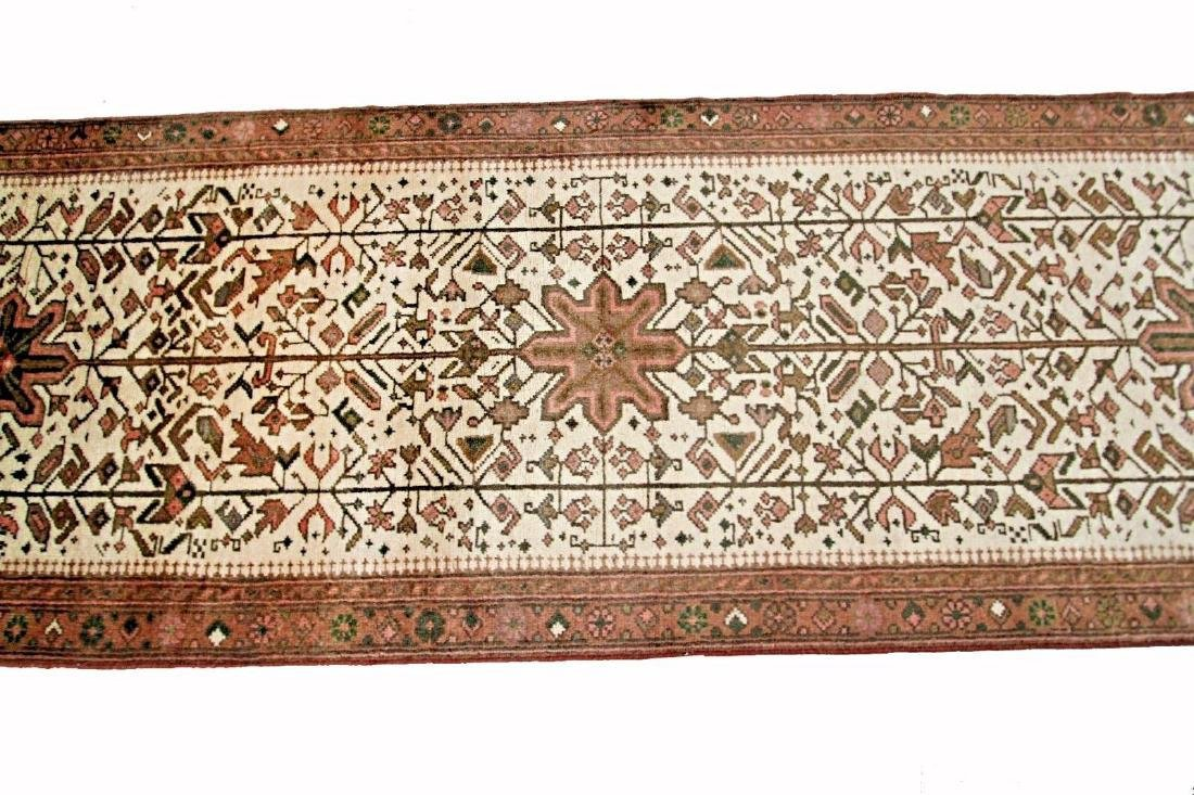 Persian Heriz Rug Serapi Runner Ivory 2.6x10.7 C.1960 - 2
