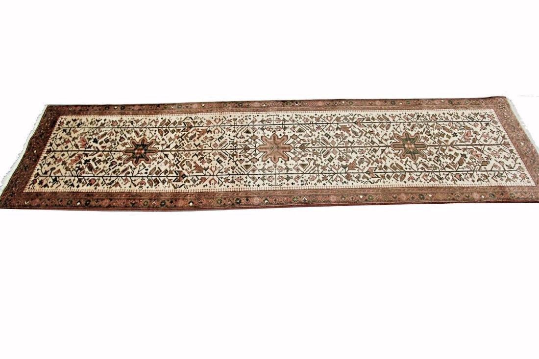Persian Heriz Rug Serapi Runner Ivory 2.6x10.7 C.1960 - 3