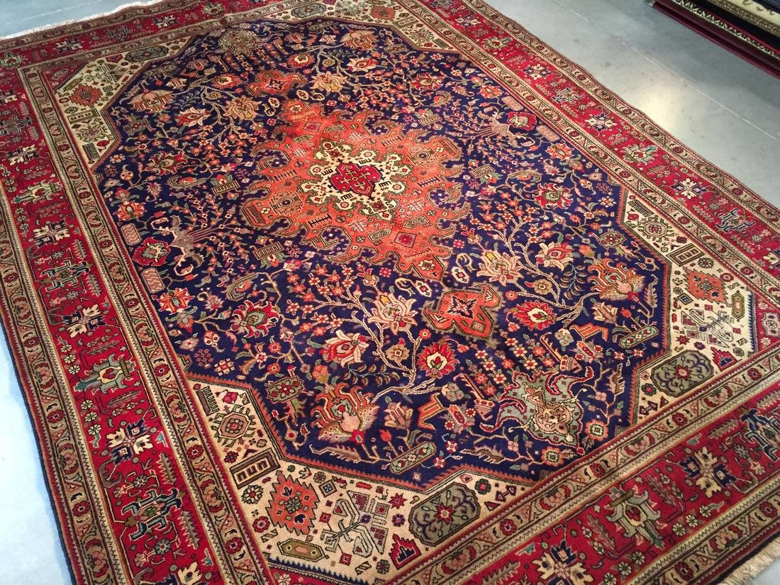 Semi Antique Persian Tabriz Wool Hand Knotted Rug 10x12 - 2