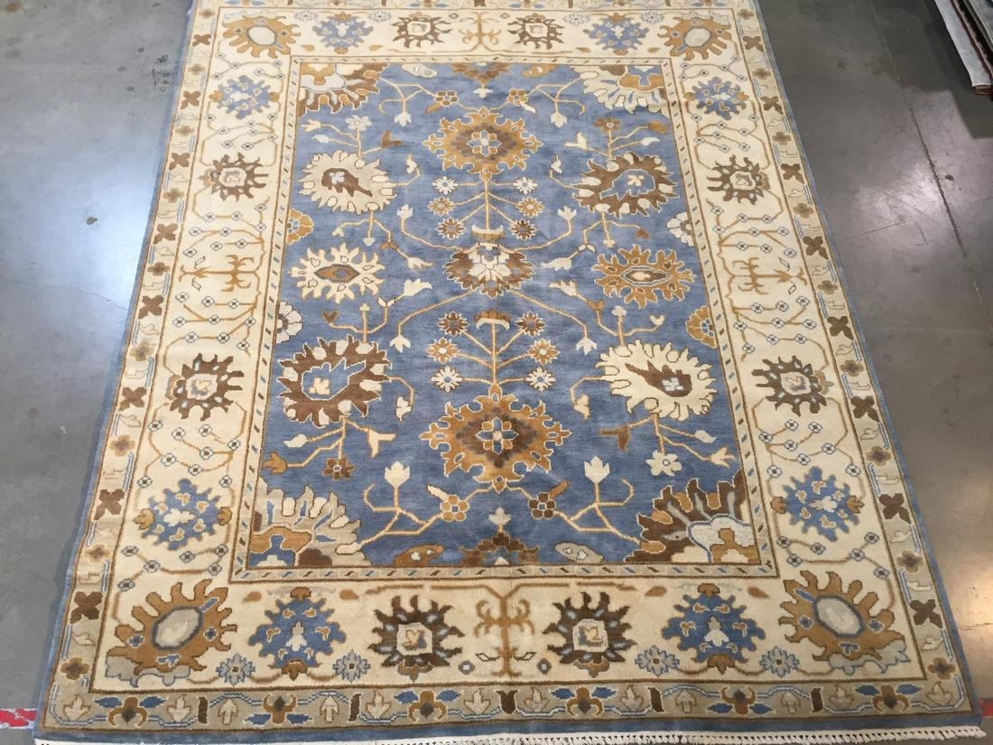 Hand Knotted Wool Oushak Rug 8x10 - 2