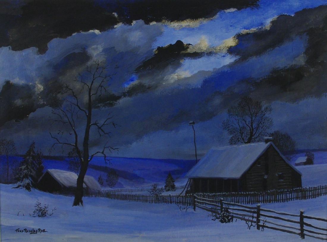 Frederick Rushing Roe: Winter Night, Signed