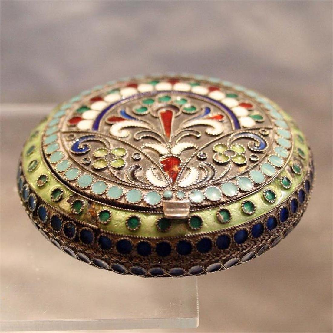 Antique Russian Silver-Gilt and Enamel Powder Case