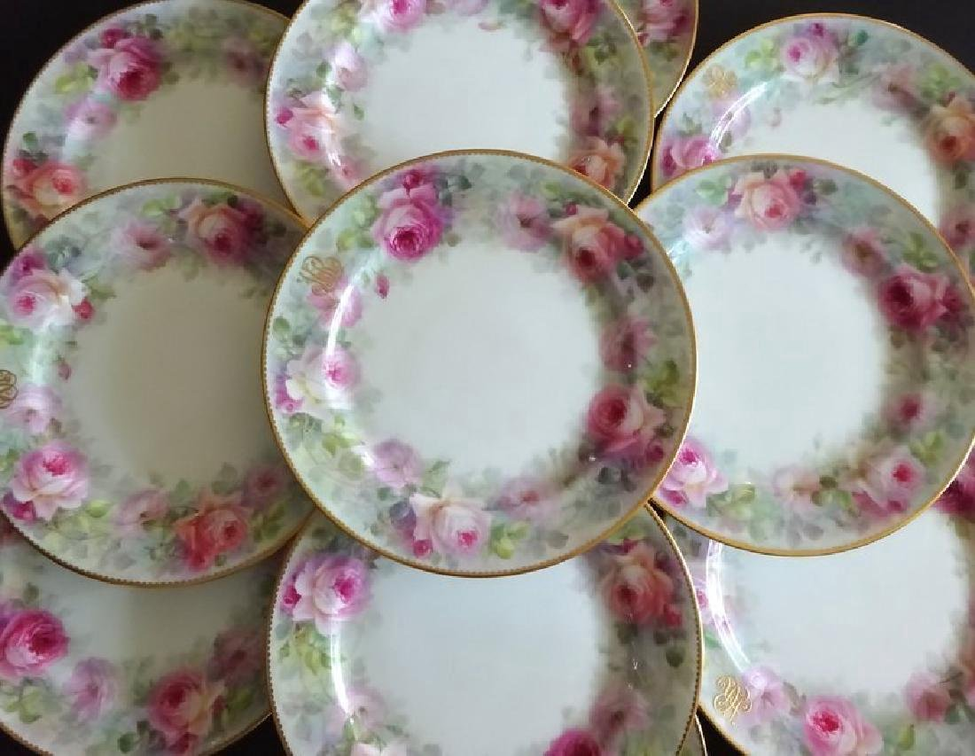12 Early Lenox Rose Plates, Artist Signed