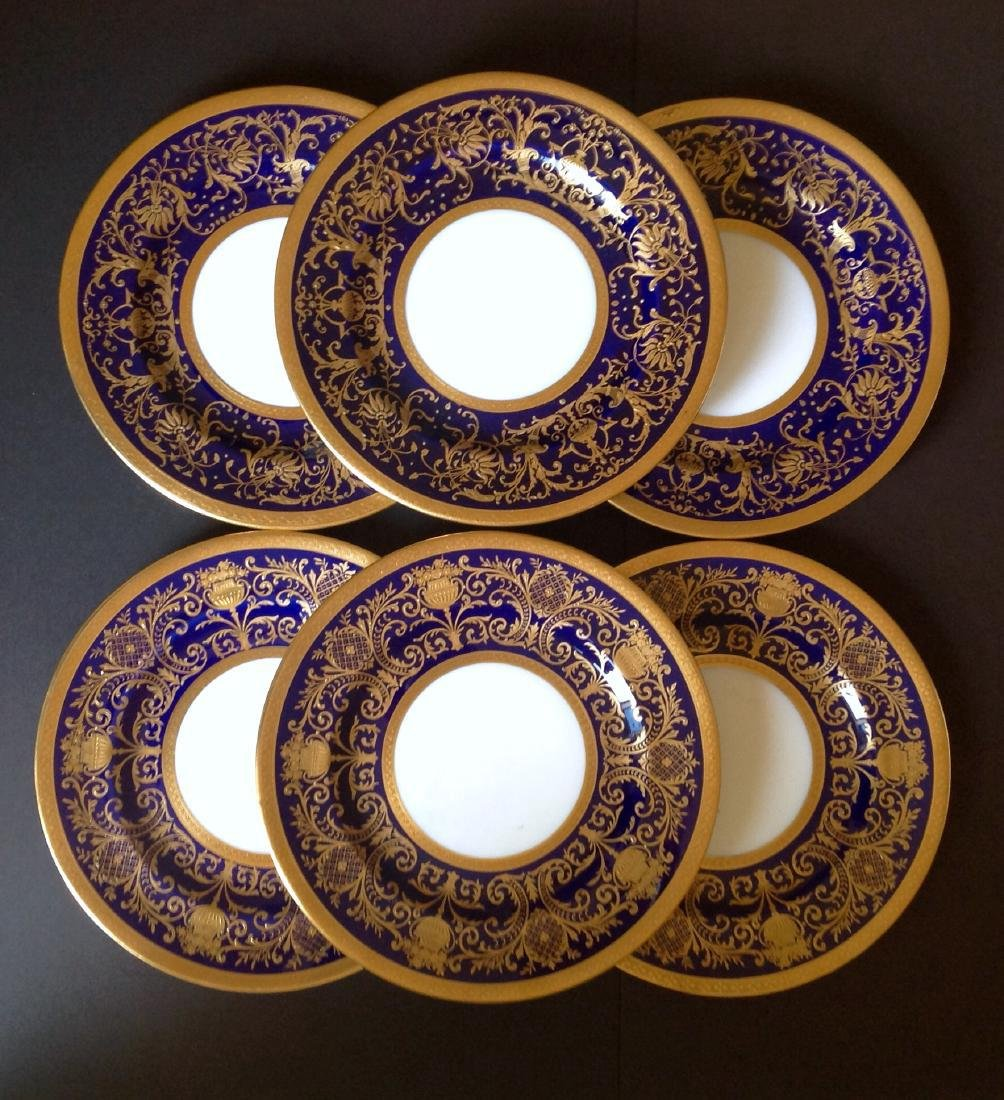 6 Crown Chelsea Heavy Gold Encrusted Gilded Plates