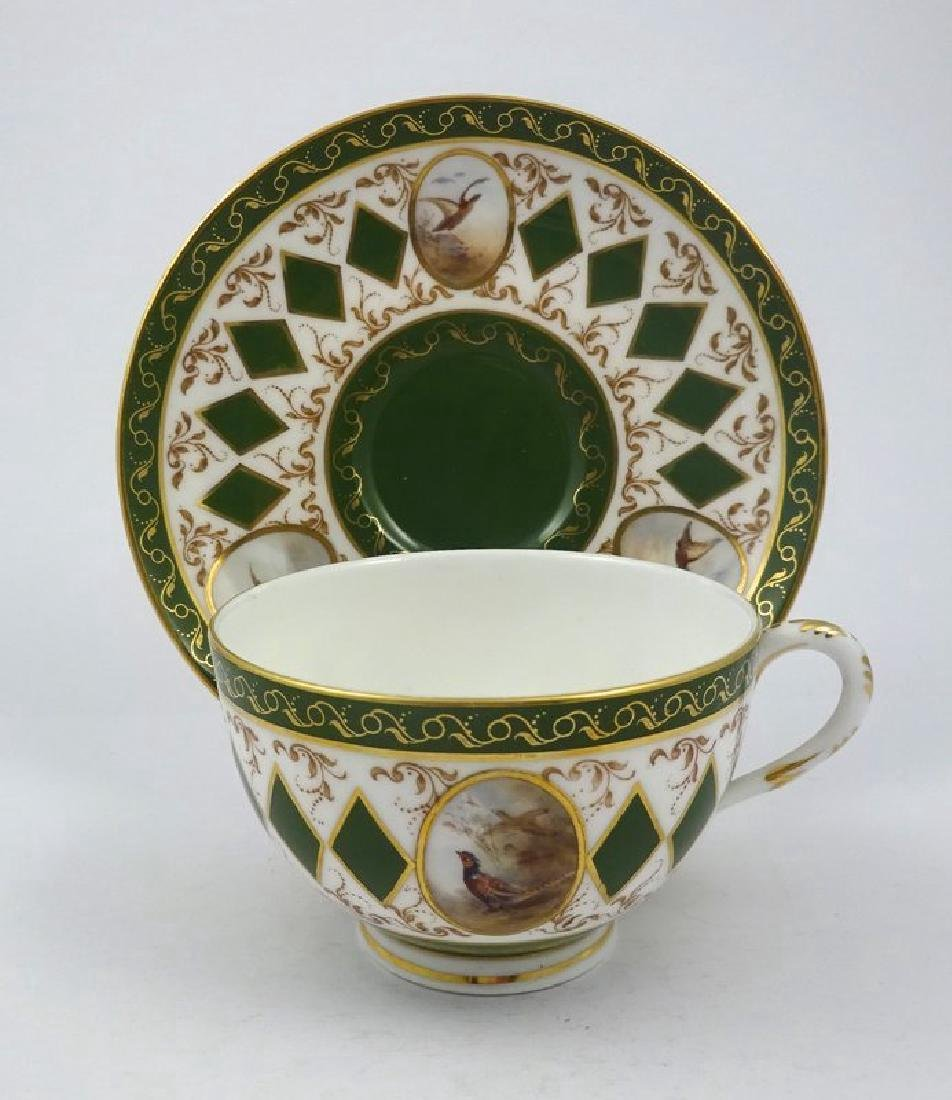Antique Royal Worcester Tea Cup & Saucer with Pheasants - 2