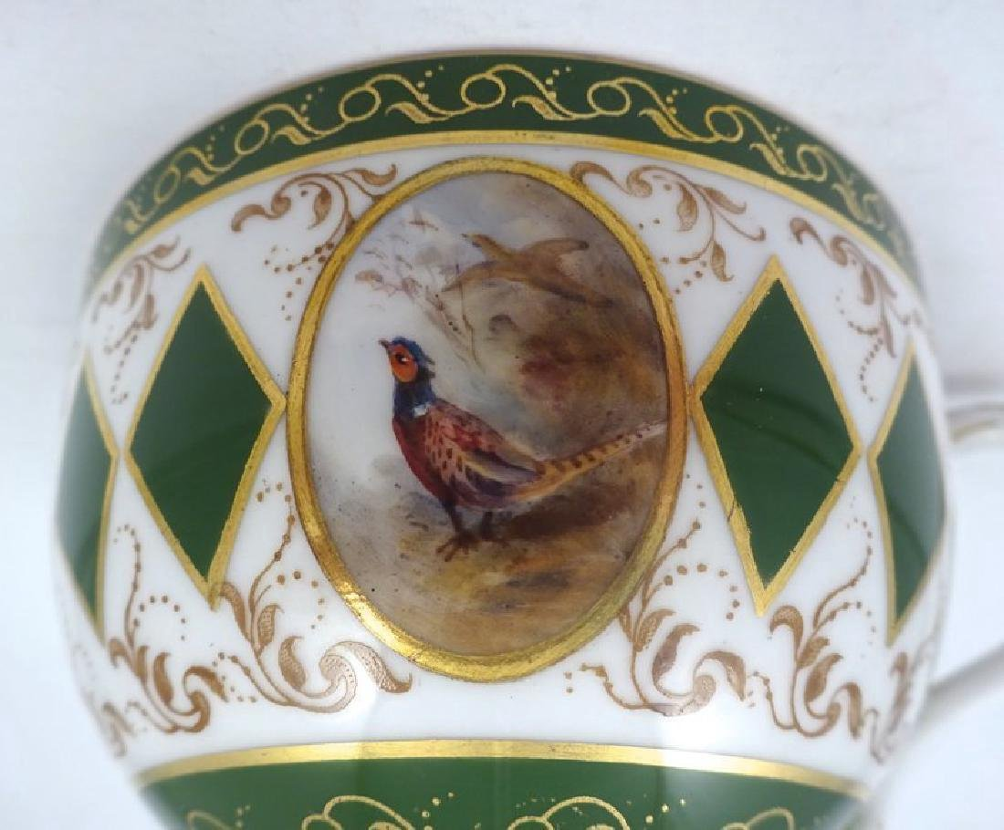 Antique Royal Worcester Tea Cup & Saucer with Pheasants - 4