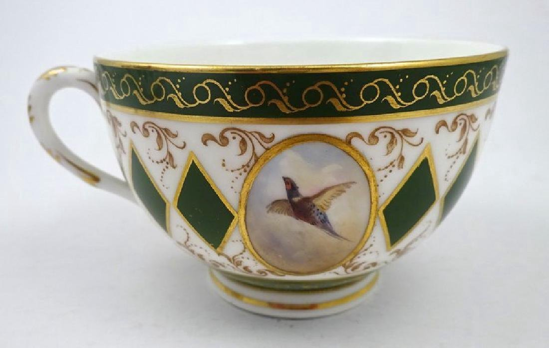 Antique Royal Worcester Tea Cup & Saucer with Pheasants - 5