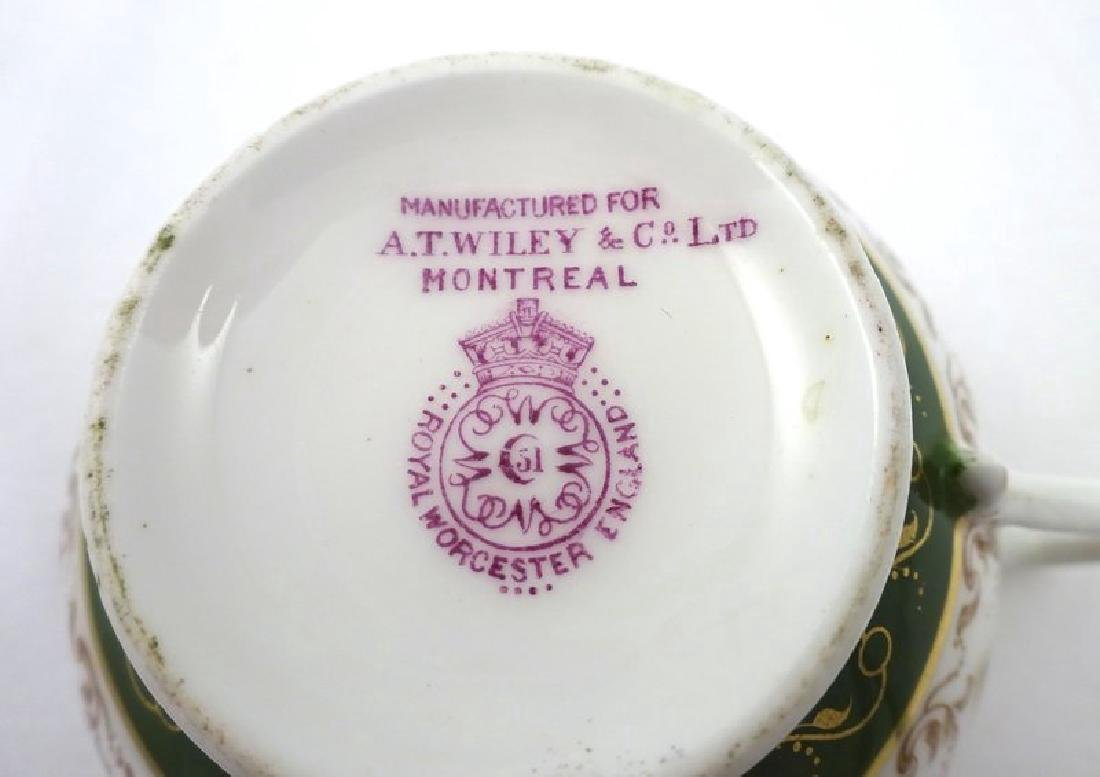 Antique Royal Worcester Tea Cup & Saucer with Pheasants - 6