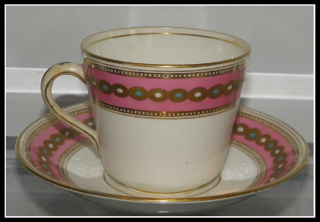 Antique Minton's Porcelain Pink & Gold Cup & Saucer