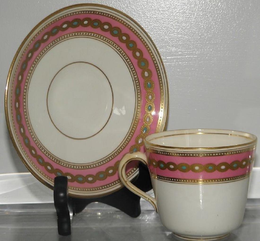 Antique Minton's Porcelain Pink & Gold Cup & Saucer - 2