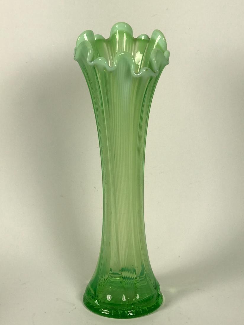 Hand Blown Light Green Flower Swing Vase - 2