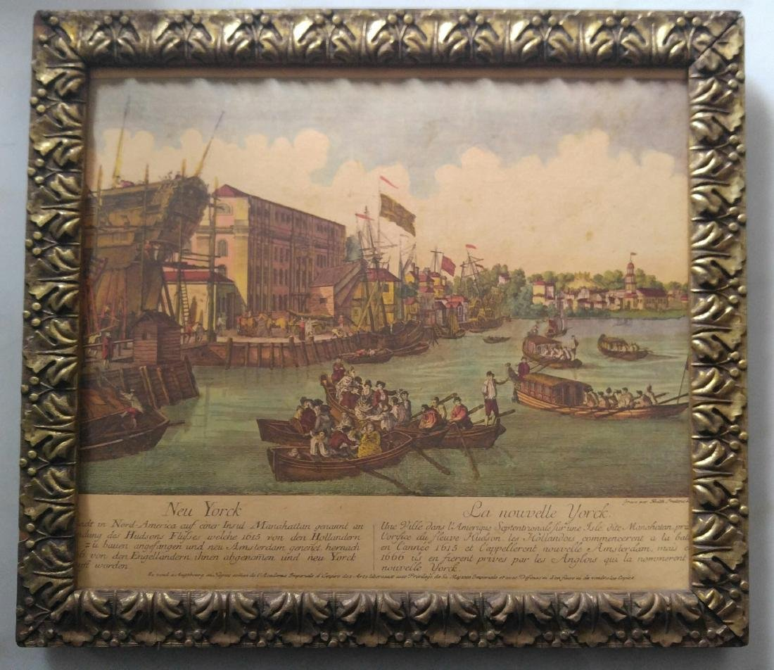 French Vintage Color Print Of New York
