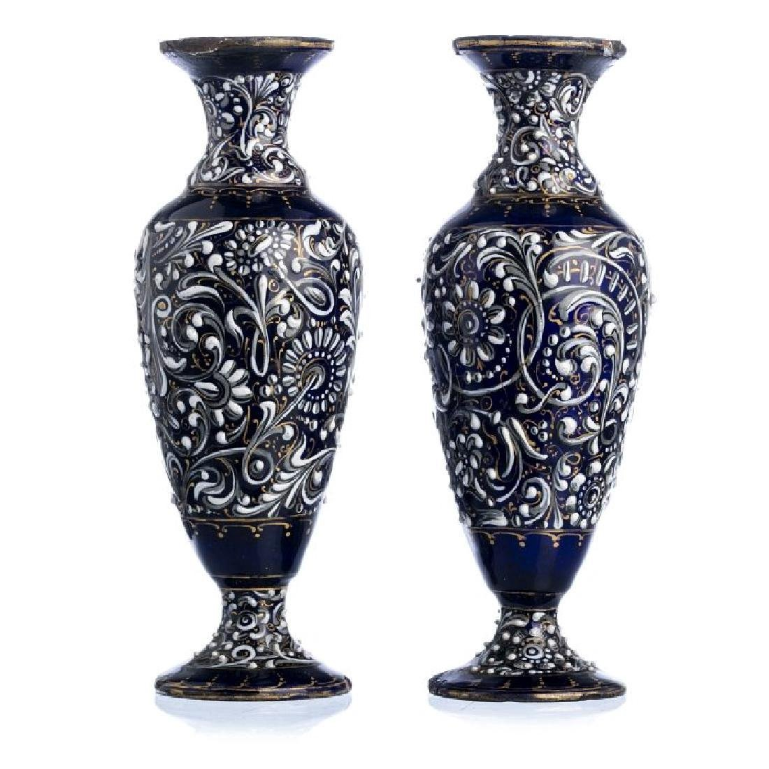 Pair of Enamel on Copper Limoges Vases