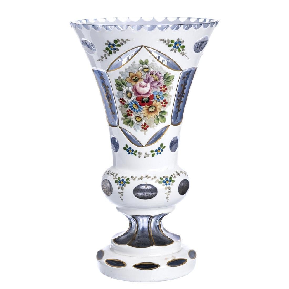 Bohemian Cut Glass Floral Enameled Vase