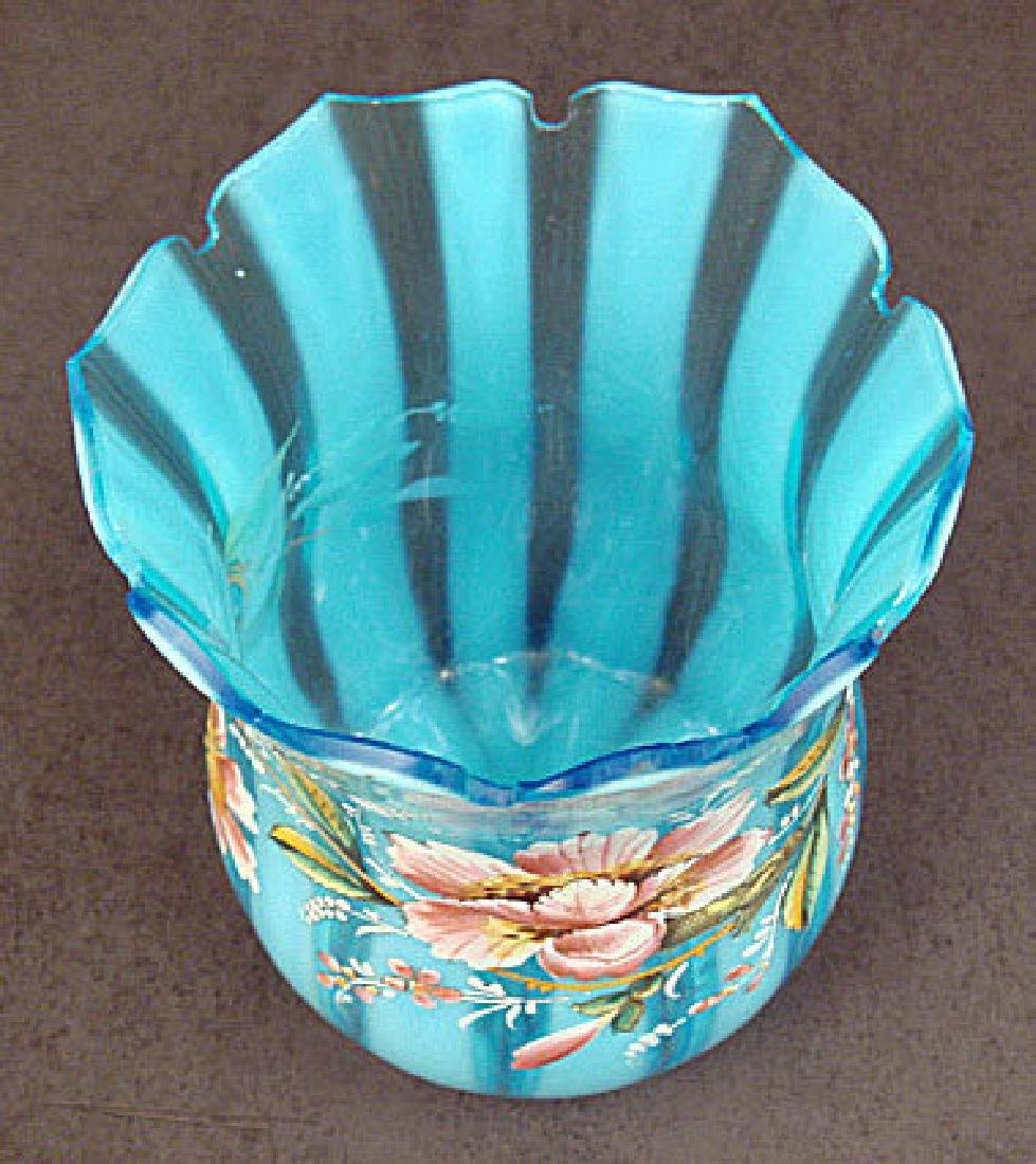 Victorian Enameled Art Glass Vase - 5