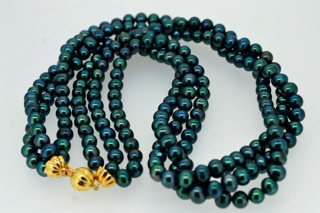 "17"" Triple Strand Teal Necklace - 2"