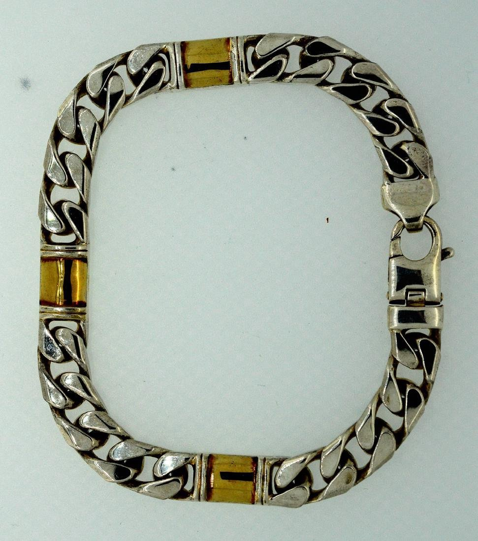 Men's 18k Yellow Gold and Sterling Bracelet