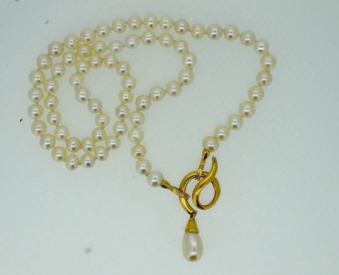 Akoya Pearl Necklace 14k Yellow Gold Clasp