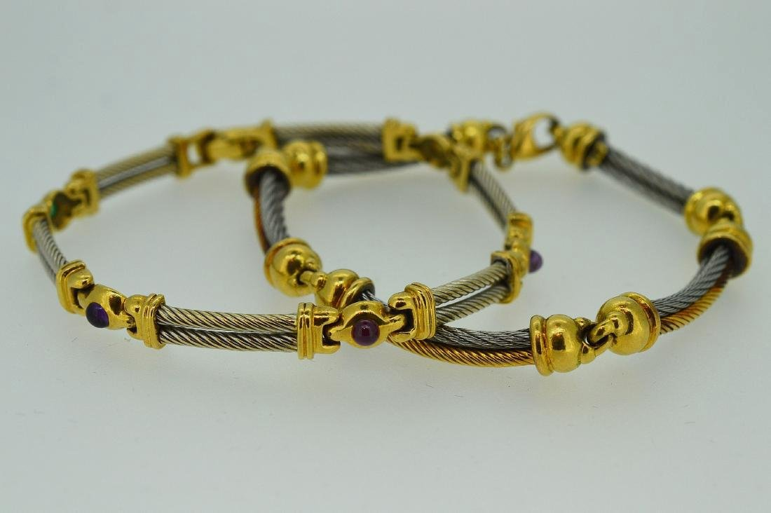 Ladies Yellow Gold and Stainless Steel Bracelets