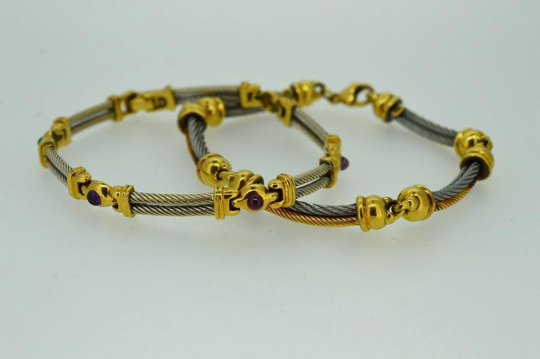 Ladies Yellow Gold and Stainless Steel Bracelets - 2