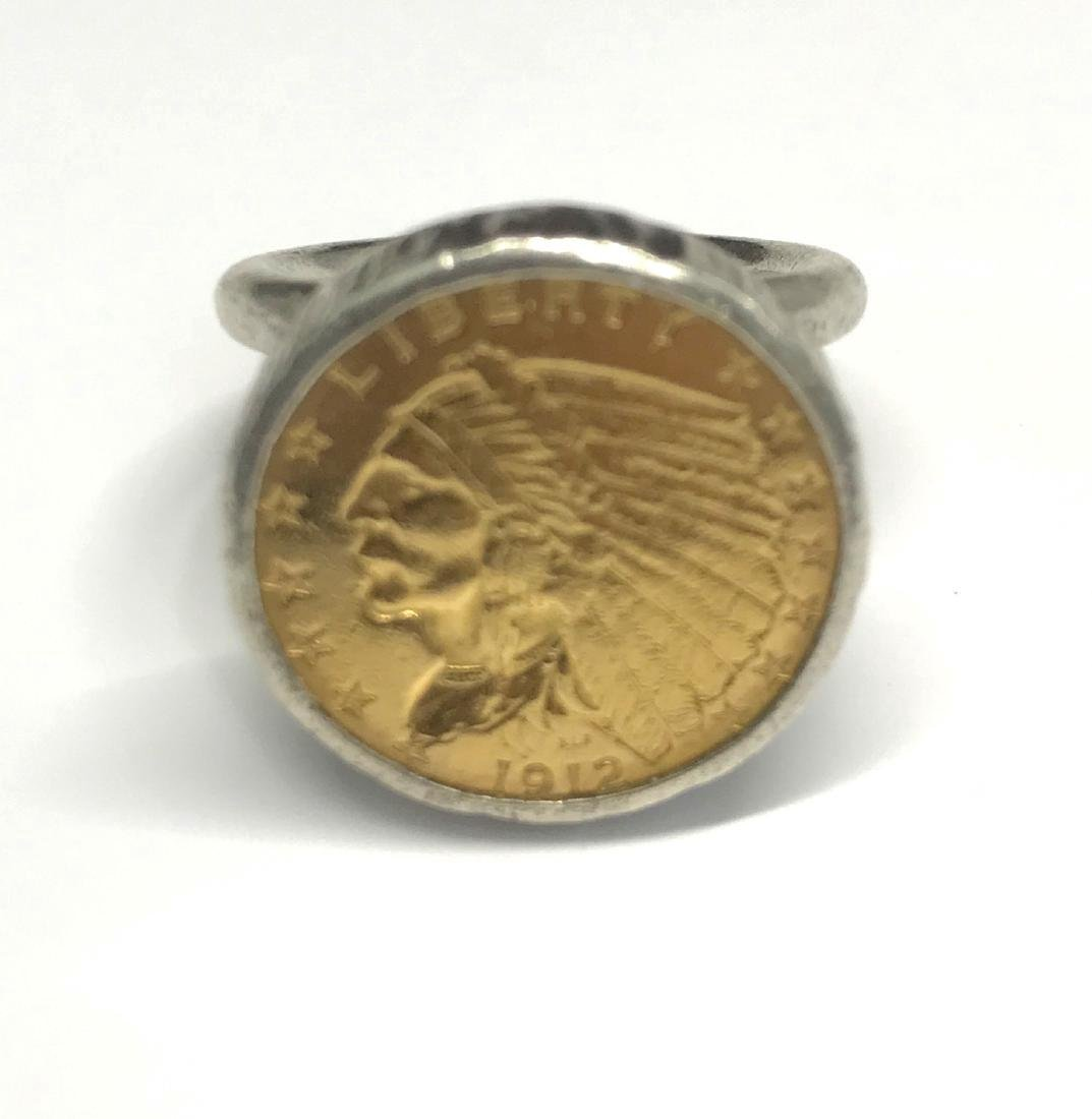Sterling Silver Us Gold Indian Head Ring
