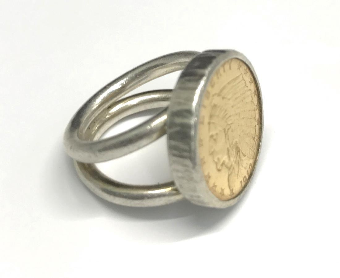 Sterling Silver Us Gold Indian Head Ring - 4