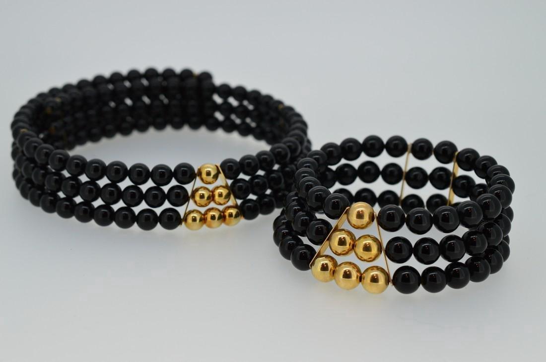 Black Onyx Choker and Bracelet - 2