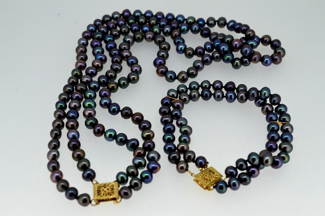 Rainbow Tahitian Necklace and Bracelet Set - 3