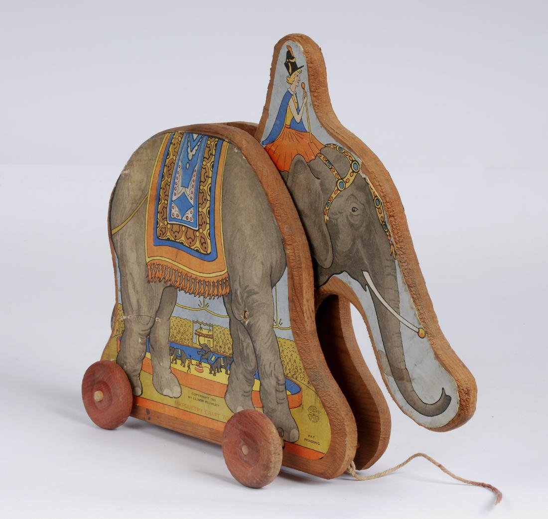 Vintage Paper Litho Elephant Pull Toy, 1945
