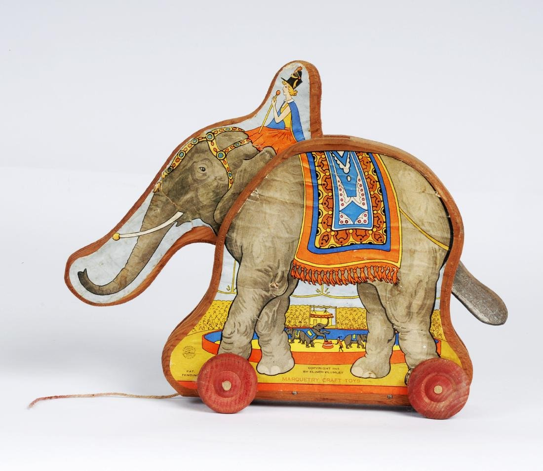 Vintage Paper Litho Elephant Pull Toy, 1945 - 2