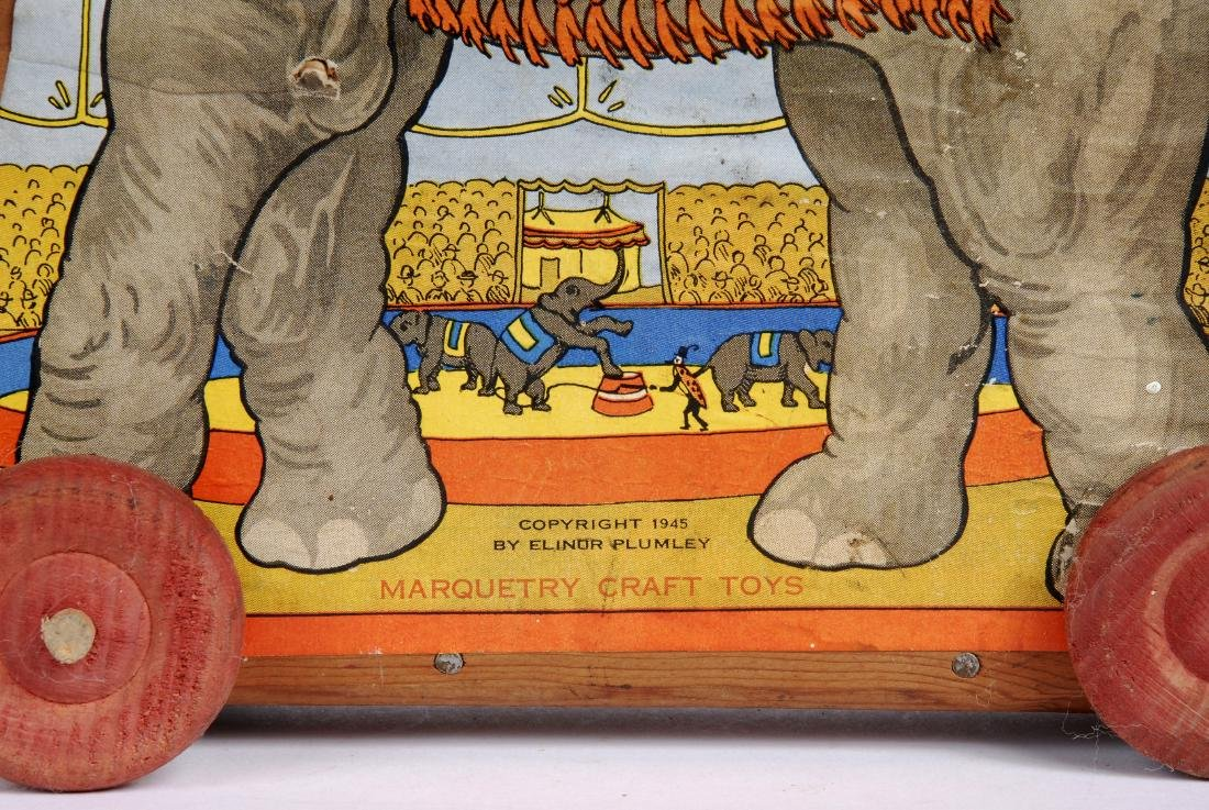 Vintage Paper Litho Elephant Pull Toy, 1945 - 3