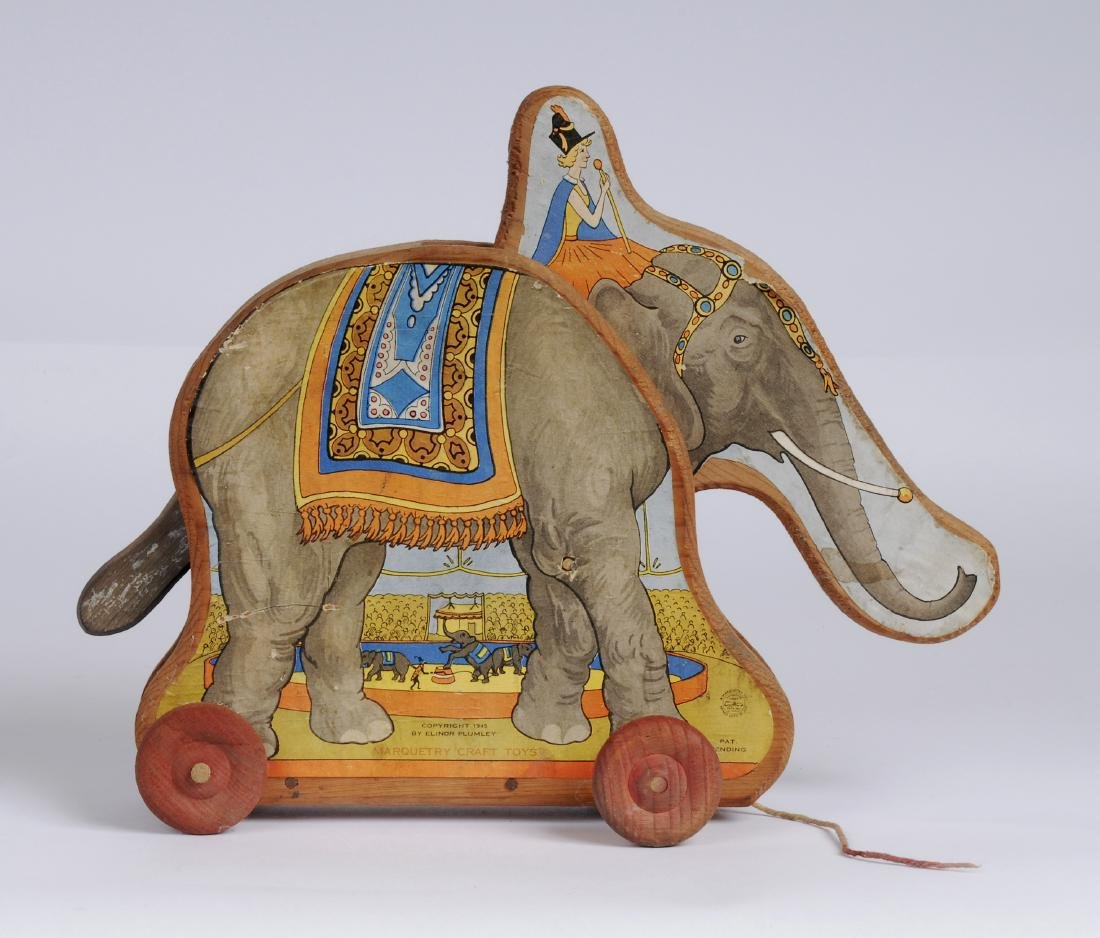 Vintage Paper Litho Elephant Pull Toy, 1945 - 7