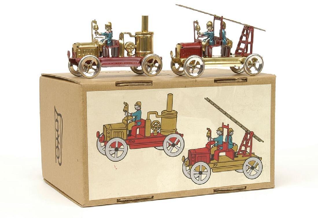 Vintage Tin Litho PAYA Spain Pair of Fire Engine Trucks