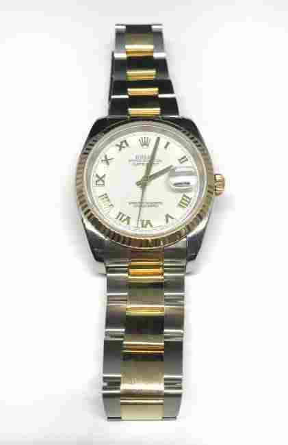 Men's Rolex Watch Datejust Twotone 18ky and Ss