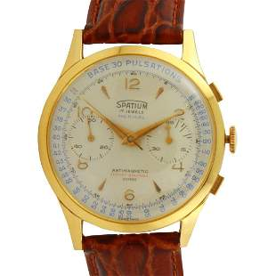 Vintage Spatium 18k Gold Medical Chronograph Watch