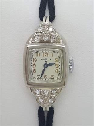 A Vintage Elgin 14k White Gold Ladies Watch