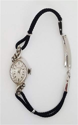 A Longines 14k White Gold Ladies Vintage Manual Watch
