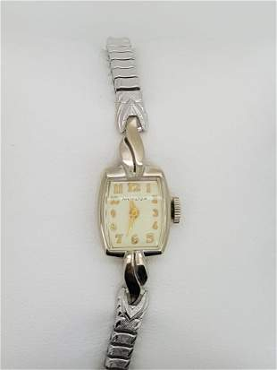 A Ladies Hamilton 14k White Gold Vintage Wristwatch