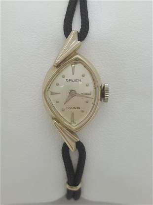 Vintage Gruen Precision 14k White Gold Ladies Watch