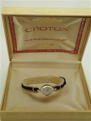 A Vintage Croton Ladies Wristwatch 14k White Gold