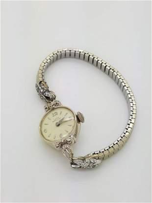 A 1968 Lady Hamilton 14k Ladies Watch With Diamonds