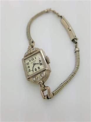A Vintage Elgin Ladies Watch With 14k White Gold Bezel