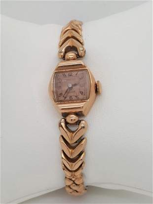 A Vintage Crawford Ladies Watch  With 14k Rose Gold