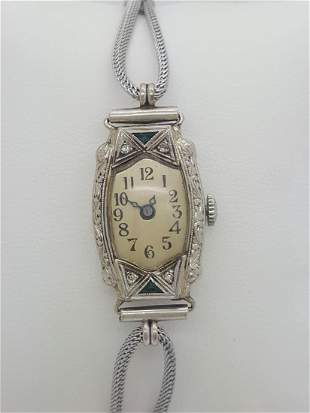 Vintage Invicta 14k White Gold & Diamond Ladies Watch