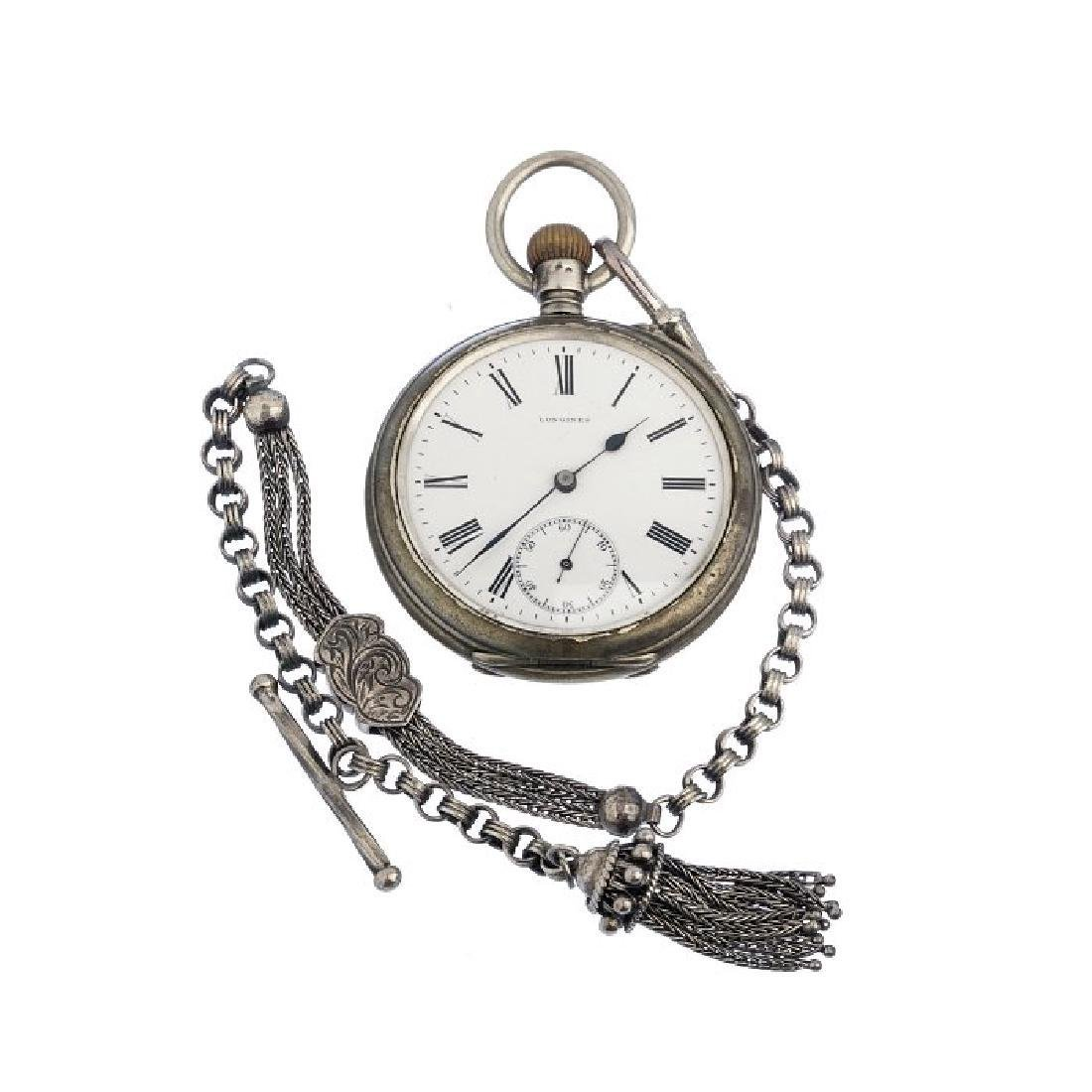 Vintage Longines Pocketwatch With Silver Chain 1910