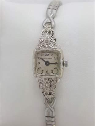 Vintage Wittnauer 14k White Gold Diamond Ladies Watch