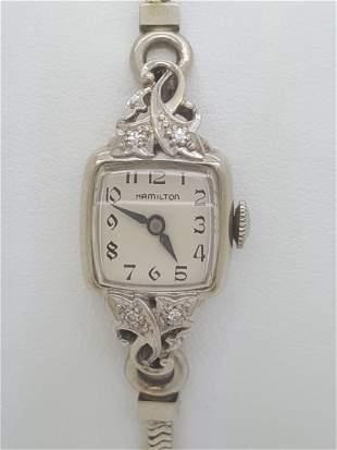 Vintage Hamilton 14k White Gold & Diamond Watch